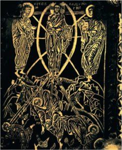 Преображение. Пластина Васильевских врат. 1336 г. Из Софийского собора в Новгороде. Покровская церковь в Александровой слободе