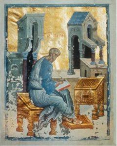Мастер Даниил (?). Евангелист Матфей. Миниатюра Евангелия Хитрово. Около 1400 г. РГБ, ф. 304., Троицк., III, № 3 (М. 8657)