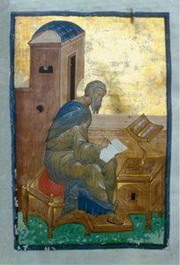 Евангелист Матфей. Евангелие тетр. Около 1400 г. Из Троице-Сергиева монастыря. РГБ, ф. 304, Троицк., III, (М. 8655)