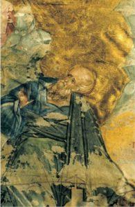Иоанн Богослов. Фрагмент. Миниатюра Шереметьевского Евангелия. Около 1430-х гг. ГИМ, Син. 364