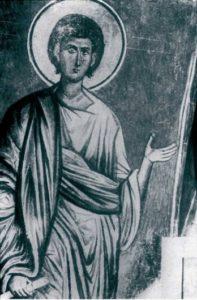 Пророк Авдий. Фреска церкви Архангела Михаила в Сковородском монастыре, близ Новгорода. Около 1400 г.