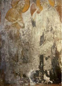 Ангел вручает монастырский устав преподобному Пахомию. Фреска Успенского собора на Городке в Звенигороде. Около 1400 г.