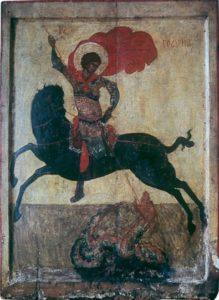 Чудо св. Георгия о змие. Начало XV в. Из села на реке Пинеге. Лондон, Британский музей