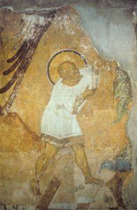 Мастер Даниил. Ангел ведет младенца Иоанна Предтечу в пустыню. Фреска жертвенника Успенского собора во Владимире. 1408 г. Иоанн.