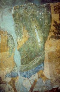 Мастер Даниил. Ангел ведет младенца Иоанна Предтечу в пустыню. Фреска жертвенника Успенского собора во Владимире. 1408 г. Ангел