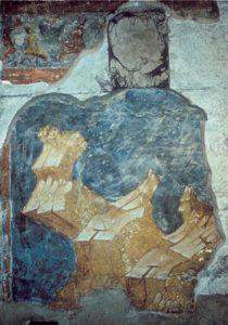 Мастер Даниил. Ангел ведет младенца Иоанна Предтечу в пустыню. Фреска жертвенника Успенского собора во Владимире. 1408 г. Горки