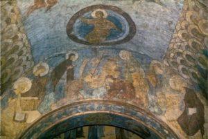 Андрей Рублев. Страшный Суд. Центральная часть композиции. Фреска Успенского собора во Владимире. 1408 г.