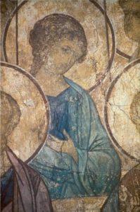 Андрей Рублев. Ангел из «Страшного Суда». Фреска Успенского собора во Владимире. 1408 г.