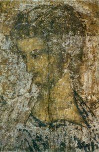 Андрей Рублев. Трубящий ангел из «Страшного Суда». Фреска Успенского собора во Владимире. 1408 г.