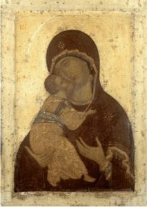 Андрей Рублев. Богоматерь Владимирская. Около 1408 г. Из Успенского собора во Владимире. Владимиро-Суздальский музей-заповедник