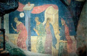 Рождество Иоанна Предтечи. Конец XV в. Фреска Похвальского придела Успенского собора Московского Кремля