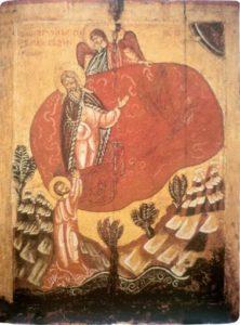 Огненное восхождение пророка Ильи на небо. XV в. Из собрания Н.П.Лихачева. ГРМ
