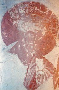 Петр благословляет Галлу Милостивую. Фреска церкви Успения в Мелетове. 1465 г.