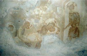 Положение во гроб. Фреска церкви Успения в Мелетове. 1465 г.