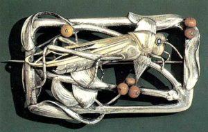 Брошь Кузнечик. Магнуссен, Эрик. Дания, 1907. Серебро, кораллы