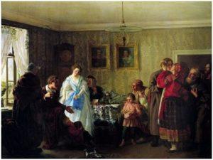 Г. Мясоедов. Поздравление молодых в доме помещика (1861)