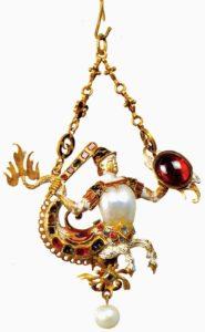 Подвеска Тритон.1600.Серебро, жемчуг, драгоценные камни. Музей серебряных изделий, Флоренция, Италия