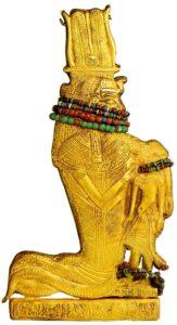 Амулет из гробницы Тутанхамона. Ок. 1334 - 1328 до н. э. Позолоченное дерево, сердолик, полевой шпат
