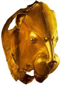 Ритон в форме львиной головы. Листовое золото; ковка; гравировка. Национальный музей, Афины