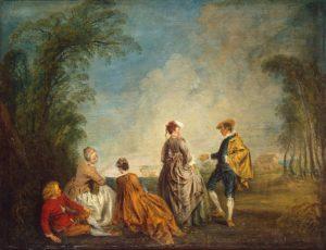 Ватто А. Затруднительное предложение. 1715—1716., холст, масло. Г. Эрмитаж.