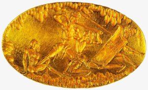 Женский перстень-печатка. 15 век до н. э. Золото; резьба. Национальный музей, Афины